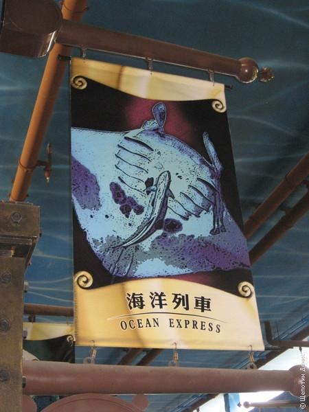 ... или через тунель на тематическом поезде Ocean Express (без очереди)